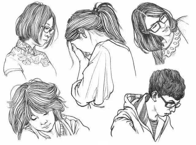 62个不同角度的人物头发速写画法教程